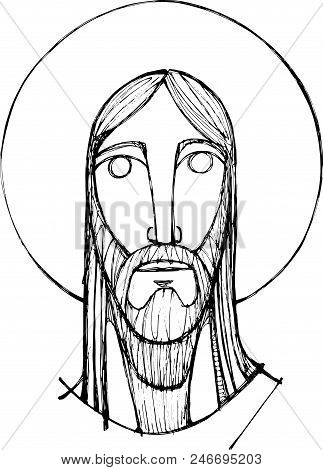 Hand Drawn Vector Pencil Illustration Or Drawing Of Jesus Christ And Eucharist Symbols