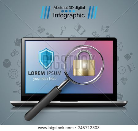 Security Notebook Illustration. Loupe, Lock Icon Vector Eps 10