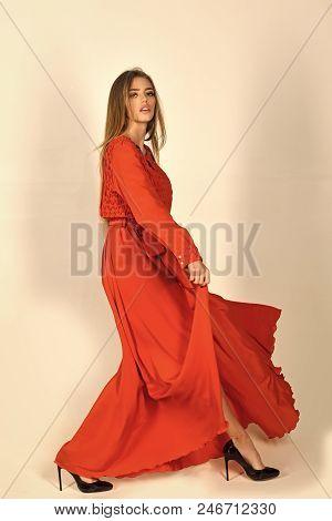 Beauty Fashion Model Girl. Fashion Look. Sensual Woman In Fashionable Folk Dress, Autumn. Fashion Mo