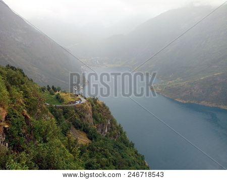 View Of The Geyranger Fjord In The Fog, Norway