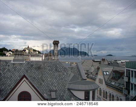 View Of The Alesund City And Roofs, Norway