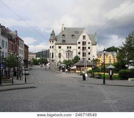 View Of The Alesund City Street And Houses, Norway