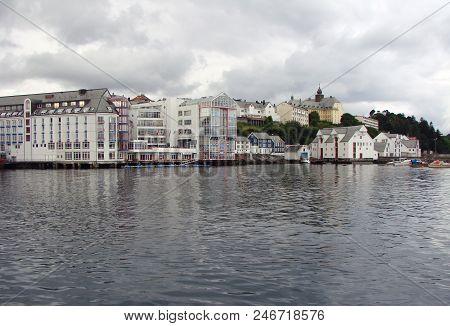 View Of The Alesund City Harbor Norway
