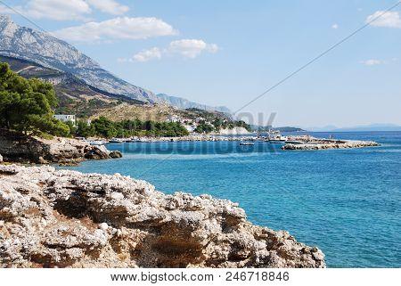 The Beautiful Coast Of Croatia In The Resort Town Of Bashka Polje, Croatia