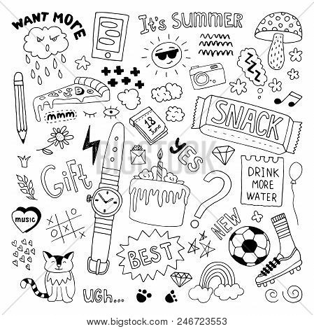 Hand Drawn Doodle Set. Daily Routine. Vector Illustration