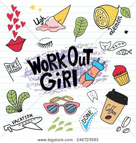 Work Out Girl Doodle Set. Hand Drawn Illustration In Vector.