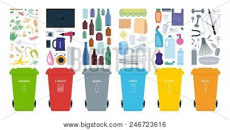 Rubbish Bins For Recycling Different Types Of Waste. Sort Plastic, Organic, E-waste, Metal, Glass, P