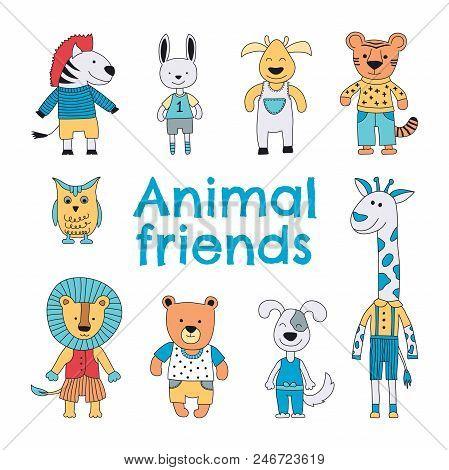 Animal Characters Set. Zebra, Hare, Reindeer, Tiger, Owl, Giraffe, Lion, Bear And A Dog Smiling. Vec