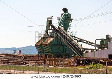 Lumber Mill Sawdust Machinery equipment in Rainier Oregon poster