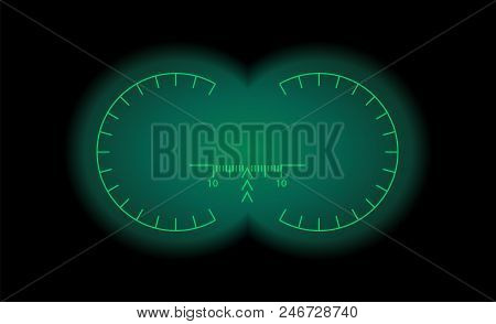 View Through The Optical Sight Scale. Night Vision Style Of Military Weapon View Vector Illustration