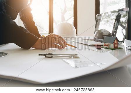 Engineer Or Architect Concept, Image Of Engineer Drawing A Blue Print Design Building Or House, An E