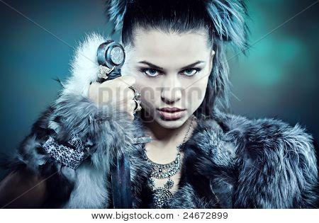 Krieger-Frau. Fantasie-Mode-Idee.