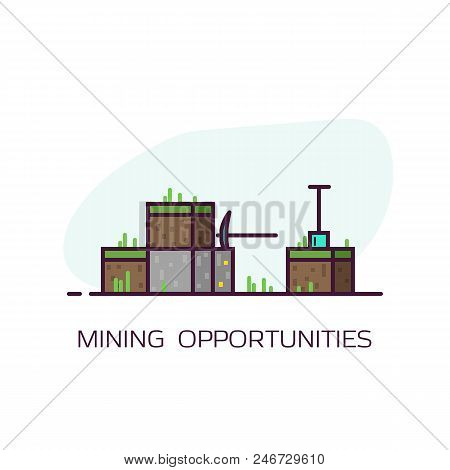 Mining Concept Banner. Blocks Of Dirt With Grass And Stone Block With Gold. Diamond Pickaxe And Shov