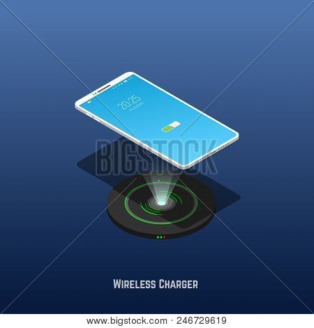 Isometric Mobile Phone Levitates Above Wireless Charger. Wireless Phone Charger Banner. Technology T