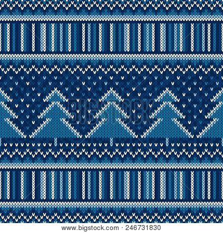 Winter Holiday Seamless Knitted Pattern With Christmas Trees. Scheme For Sweater Pattern Design Or C