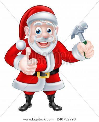 Christmas Cartoon Santa Claus Giving A Thumbs Up And Holding A Hammer