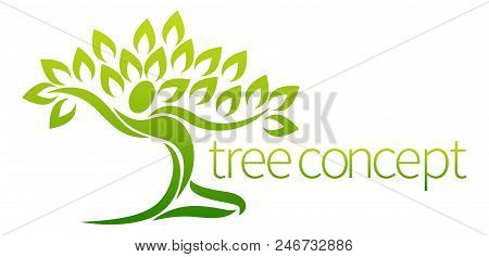 Conceptual Design Element Of A Tree In The Shape Of A Dancing Figure Or Person With Arms Outstretche