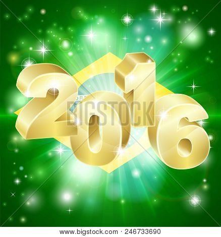 A Brazilian Flag With 2016 Coming Out Of It With Fireworks. Concept For New Year Or Anything Excitin