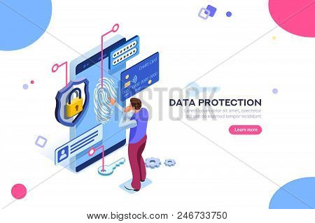 Data Protection Concept. Credit Card Check And Software Access Data As Confidential. Can Use For Web