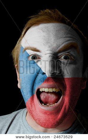 Face Of Crazy Angry Man Painted In Colors Of Czech Flag