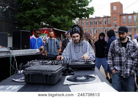 ST. PETERSBURG, RUSSIA - JUNE 1, 2018: Unidentified DJ participates in a battle of Red Bull BC One Camp Russia 2018. 3-days camp includes classes and contests in beatmaking and dj-ing