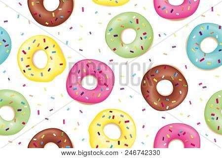 Donut. Pattern Of Sweet Colorful Donuts. Hand Drawn Design Seamless Pattern Of Donuts. Dessert, Past