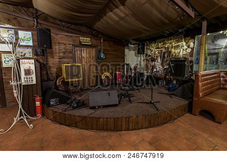 Empty Scene In The Restaurant, Night Life, Live Performances At The Club . Kiev. March 14. 2018