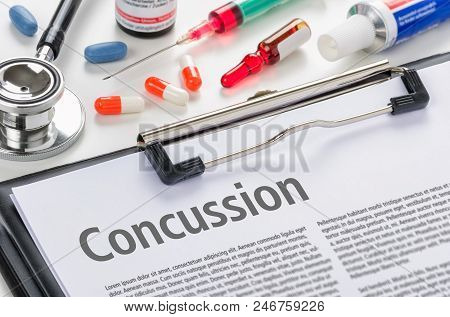 The Text Concussion Written On A Clipboard