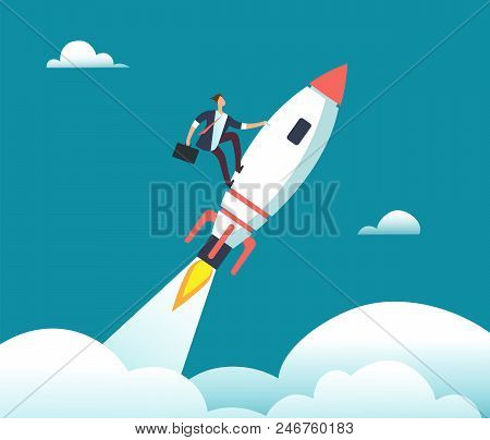 Successful Happy Businessman Flying On Rocket To Goal. Leadership, Start-up, Growth And Opportunity