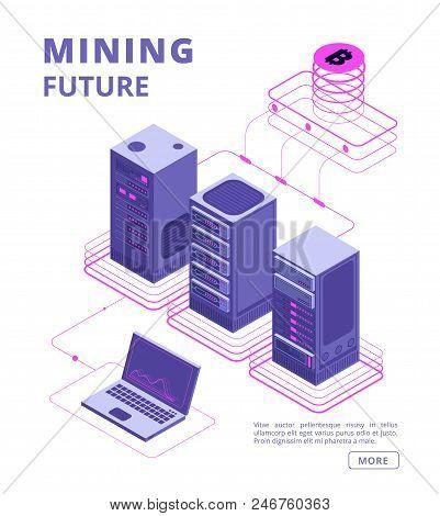 Blockchain, Token Trading, Bitcoin And Altcoin Farms, Crypto Bank, Ico Vector Isometric Concept With