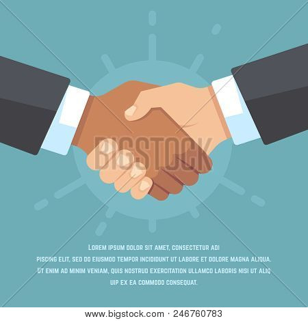 Handshake Of European And African American Business Partners. Respect, Friendship, Agreement And Big
