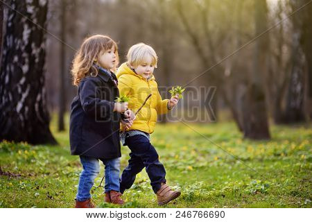 Cute Little Children Playing Together. Preschooler Boy And Girl. Best Friends.toddler Siblings Toget