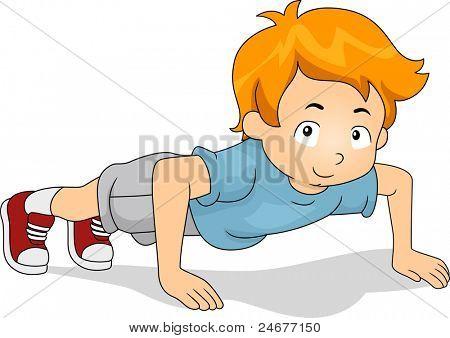 Illustratie van een jong geitje doen Pushups