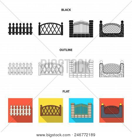 A Fence Of Metal And Bricks, Wooden Palisade. A Different Fence Set Collection Icons In Black, Flat,