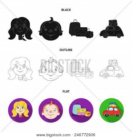 Camping, Woman, Boy, Bag .family Holiday Set Collection Icons In Black, Flat, Outline Style Vector S