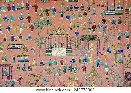Luang Prabang, Laos - April 14, 2012: Exterior Wall With Beautiful Mosaic Of The Pavilion At Xieng T