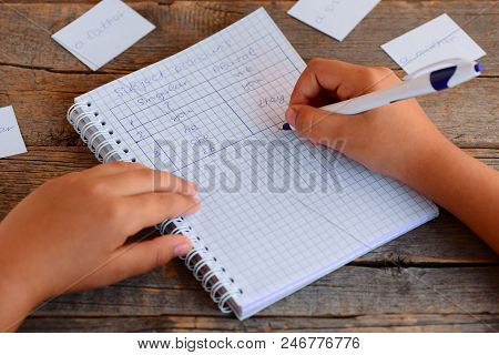Basic English learning. A small child is writing subject pronouns. A notebook, a pen, cards with words on a wooden table. Learning subject pronouns. Basic English grammar for children concept poster