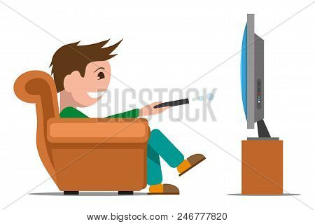Man Watching Tv On Sofa. Evening Watching Television Series. Vector Graphics To Design.