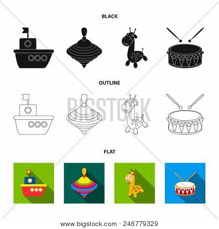 Ship, Yule, Giraffe, Drum.toys Set Collection Icons In Black, Flat, Outline Style Vector Symbol Stoc