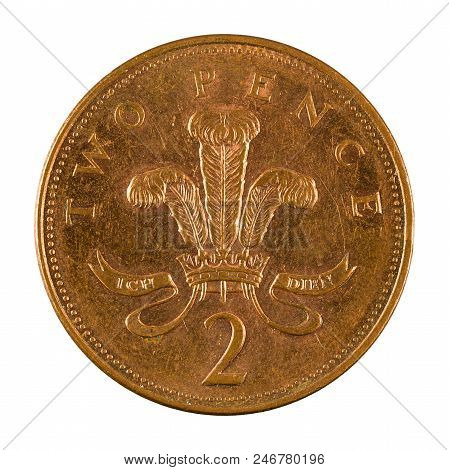 Two British Pence Coin (2003) Isolated On White Background