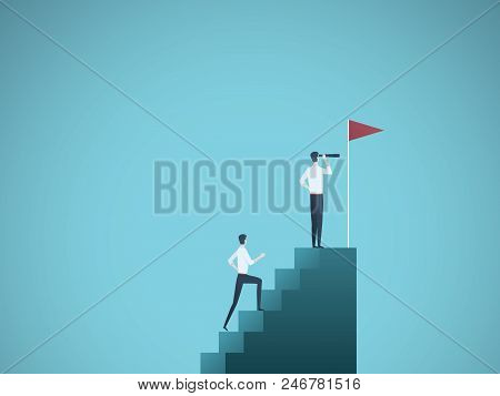 Business leader and visionary vector concept. Businessman and his follower on steps. Symbol of ambition, leadership, vision, motivation and achievement. Eps10 vector illustration. poster