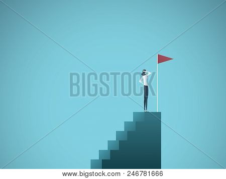 Business Ambition And Success Vector Concept. Ambitious And Successful Business Woman Standing On To