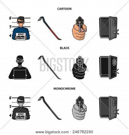 Photo Of Criminal, Scrap, Open Safe, Directional Gun.crime Set Collection Icons In Cartoon, Black, M