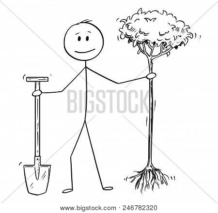 Cartoon Stick Drawing Conceptual Illustration Of Man Or Businessman Holding Spade And Tree To Plant.