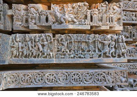 Depiction Of Arjuna-bhishma War From Mahabharata, At The Base Of Temple, Hoysaleshwara Temple, Haleb