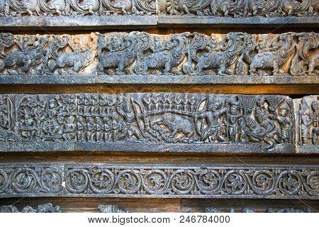 Depiction Of Arjuna-kirata, Shiva, Hunting The Pig, At The Base Of Temple, Hoysaleshwara Temple, Hal