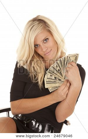 Woman Black Dress Money Sit Smile