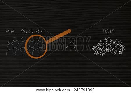 Social Media Brand Ambassadors Conceptual Illustration: Real Audience With Magnifying Glass Analysin