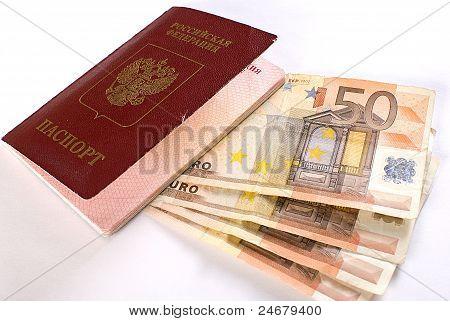 Russian Traveling Passport And Money.
