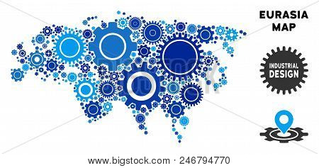 Industrial Eurasia map mosaic of cogs. Abstract geographic plan in blue color tones. Vector Eurasia map is done of cogs. Concept of technician job. poster